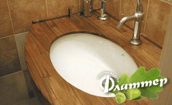 столешница в ванную из дуба